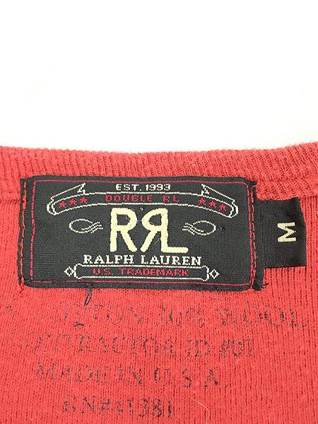 [5] 古着 RRL Ralph Lauren ラルフ 段リブ 針抜き コットン ウール サーマル シャツ トップス M 古着