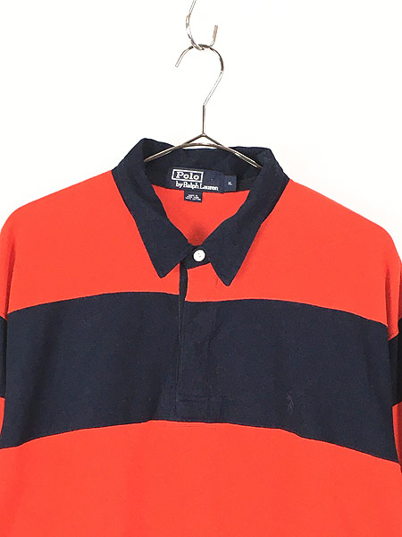 [2] 古着 POLO Ralph Lauren ラルフ 太ピッチ ボーダー ラガー ラグビー シャツ XL 古着