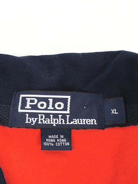 [5] 古着 POLO Ralph Lauren ラルフ 太ピッチ ボーダー ラガー ラグビー シャツ XL 古着