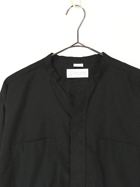 [2] 古着 80s USA製 CM ALMY 比翼 バンドカラー ブラック ドレス シャツ 16 1/2 古着