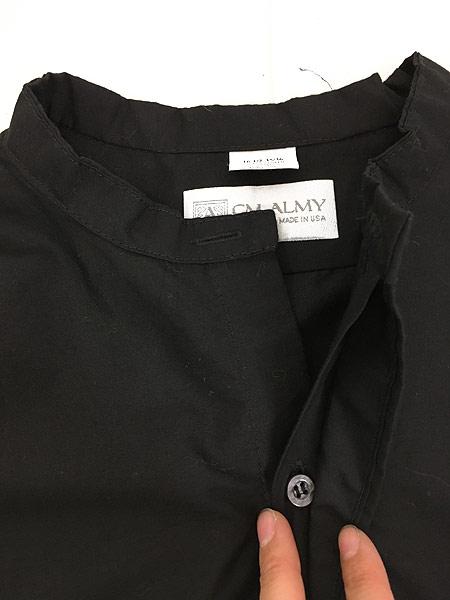 [4] 古着 80s USA製 CM ALMY 比翼 バンドカラー ブラック ドレス シャツ 16 1/2 古着