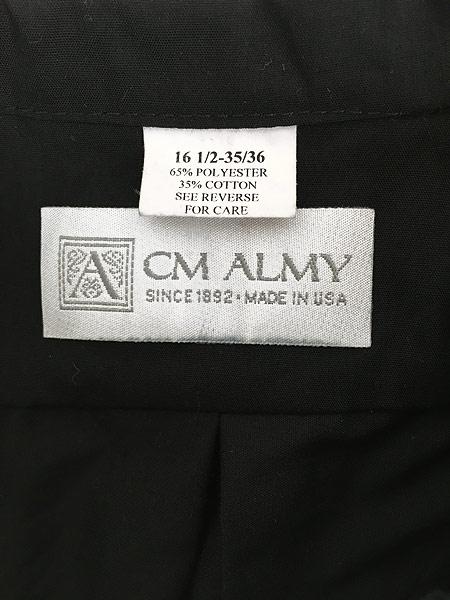 [5] 古着 80s USA製 CM ALMY 比翼 バンドカラー ブラック ドレス シャツ 16 1/2 古着