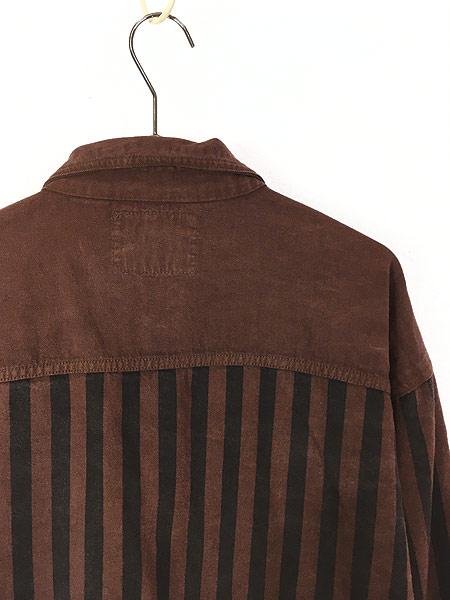 [4] 古着 90s Guns Club ソリッド × ストライプ デザイン コットンツイル シャツ L 古着