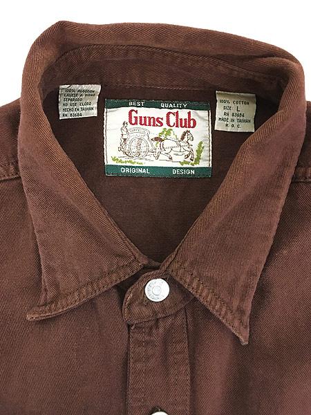 [5] 古着 90s Guns Club ソリッド × ストライプ デザイン コットンツイル シャツ L 古着