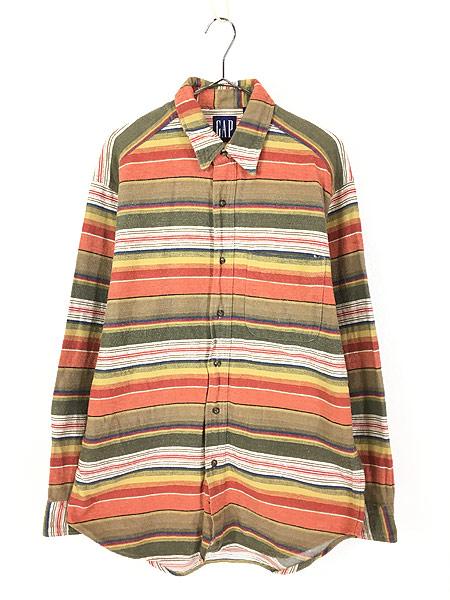 [1] 古着 90s GAP ネイティブ マルチ ボーダー フランネル シャツ ネルシャツ M 古着
