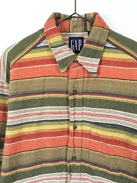 [2] 古着 90s GAP ネイティブ マルチ ボーダー フランネル シャツ ネルシャツ M 古着