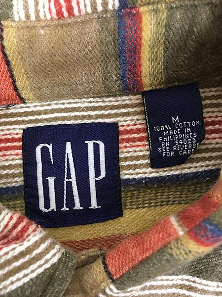 [4] 古着 90s GAP ネイティブ マルチ ボーダー フランネル シャツ ネルシャツ M 古着