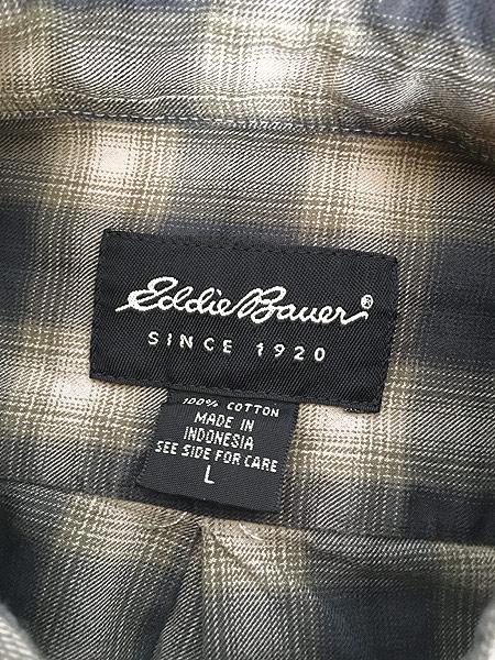 [5] 古着 90s Eddie Bauer オンブレ シャドゥ チェック コットン シャツ L 古着
