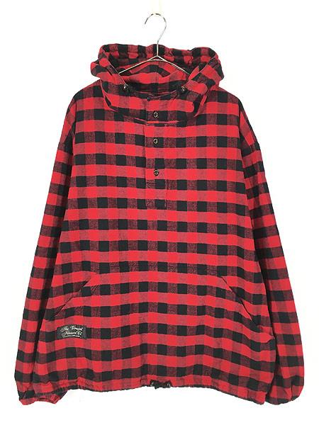[1] 古着 80s USA製 The Vermont Flannel バッファロー チェック フランネル アノラック パーカー XL 古着