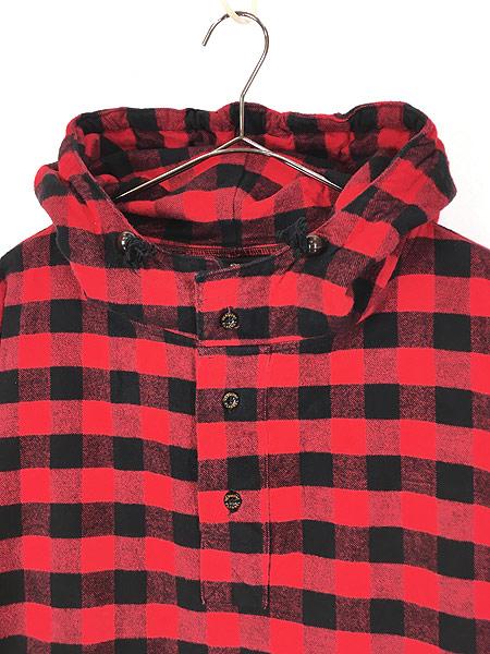 [2] 古着 80s USA製 The Vermont Flannel バッファロー チェック フランネル アノラック パーカー XL 古着