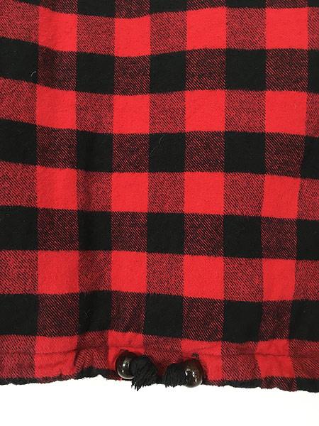 [3] 古着 80s USA製 The Vermont Flannel バッファロー チェック フランネル アノラック パーカー XL 古着