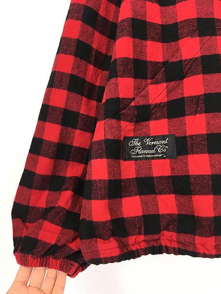 [4] 古着 80s USA製 The Vermont Flannel バッファロー チェック フランネル アノラック パーカー XL 古着