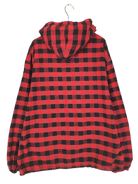 [5] 古着 80s USA製 The Vermont Flannel バッファロー チェック フランネル アノラック パーカー XL 古着
