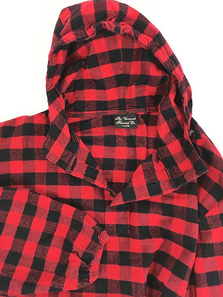 [6] 古着 80s USA製 The Vermont Flannel バッファロー チェック フランネル アノラック パーカー XL 古着