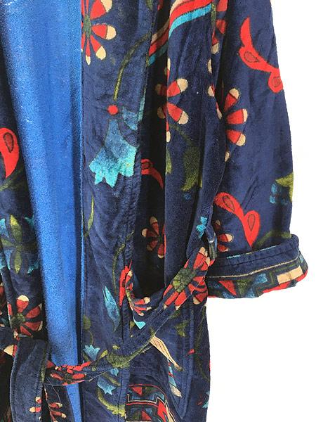 [3] 古着 80s Smithsonian 民族 ネイティブ パターン パイル ガウン コート 羽織 One Size 古着