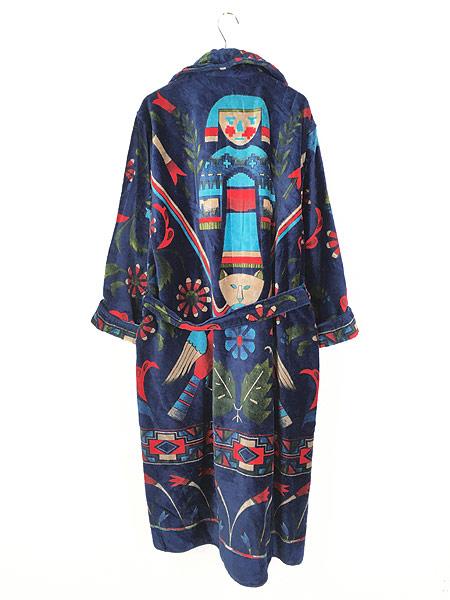 [4] 古着 80s Smithsonian 民族 ネイティブ パターン パイル ガウン コート 羽織 One Size 古着