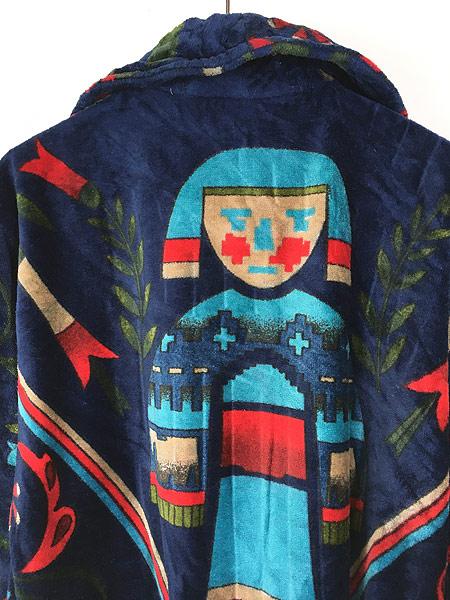 [5] 古着 80s Smithsonian 民族 ネイティブ パターン パイル ガウン コート 羽織 One Size 古着
