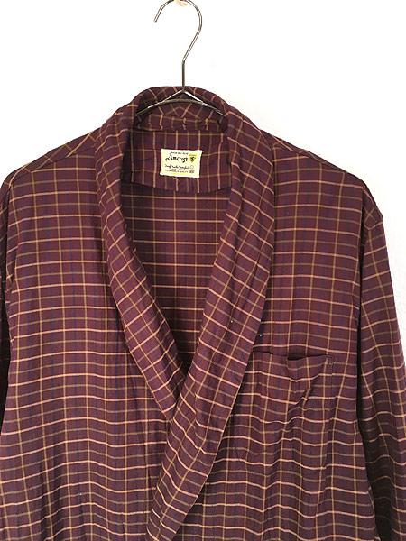 [2] 古着 60s Amcrest パープル チェック ショール カラー コットン ガウン コート L 古着