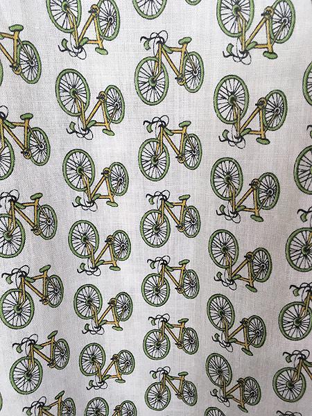 [5] 古着 70s 自転車 ピスト 総柄 ショール カラー パイピング ガウン コート XL 古着