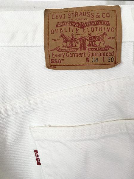 [4] 古着 00s USA製 Levi's 550 ホワイト デニム パンツ ジーンズ テーパード W34 L30 古着