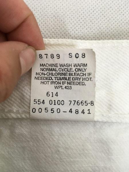 [8] 古着 00s USA製 Levi's 550 ホワイト デニム パンツ ジーンズ テーパード W34 L30 古着