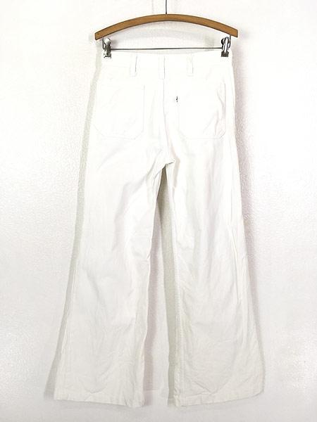 [3] 古着 70s Levi's ホワイト コットンツイル フレア パンツ Talon42 W29.5 L31 古着