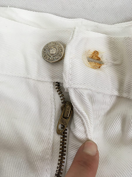 [7] 古着 70s Levi's ホワイト コットンツイル フレア パンツ Talon42 W29.5 L31 古着