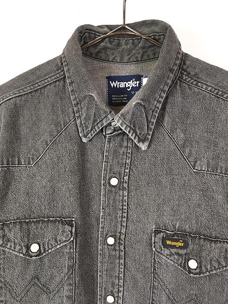 [2] 古着 80s USA製 Wrangler 70127BK ブラック デニム ウエスタン シャツ 17 古着