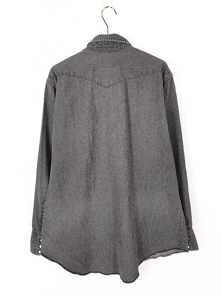 [3] 古着 80s USA製 Wrangler 70127BK ブラック デニム ウエスタン シャツ 17 古着