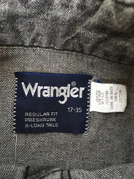 [5] 古着 80s USA製 Wrangler 70127BK ブラック デニム ウエスタン シャツ 17 古着