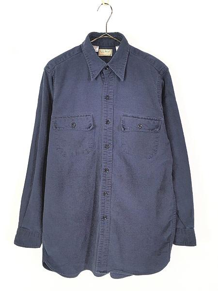 [1] 古着 80s USA製 LL Bean シャモアクロス フランネル シャツ ネルシャツ 15 1/2 古着