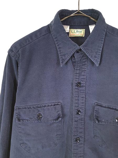 [2] 古着 80s USA製 LL Bean シャモアクロス フランネル シャツ ネルシャツ 15 1/2 古着