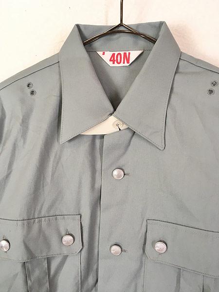 [2] 「Deadstock」 古着 80s 東ドイツ軍 NVA 人民海軍 ミリタリー グレー ドレス シャツ 40N 古着