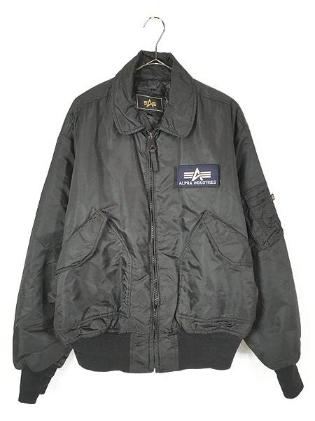 [1] 古着 ALPHA製 CWU 45/P ミリタリー パデット フライト ジャケット 黒 L 古着