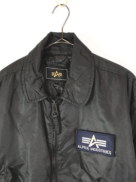[2] 古着 ALPHA製 CWU 45/P ミリタリー パデット フライト ジャケット 黒 L 古着