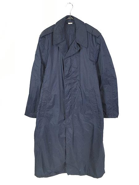 [1] 古着 70s 米軍 USAF 「LIGHTWEIGHT BLUE」 ミリタリー 防水 ナイロン レイン コート 40R 古着