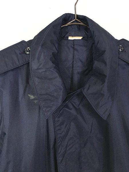 [4] 古着 70s 米軍 USAF 「LIGHTWEIGHT BLUE」 ミリタリー 防水 ナイロン レイン コート 40R 古着
