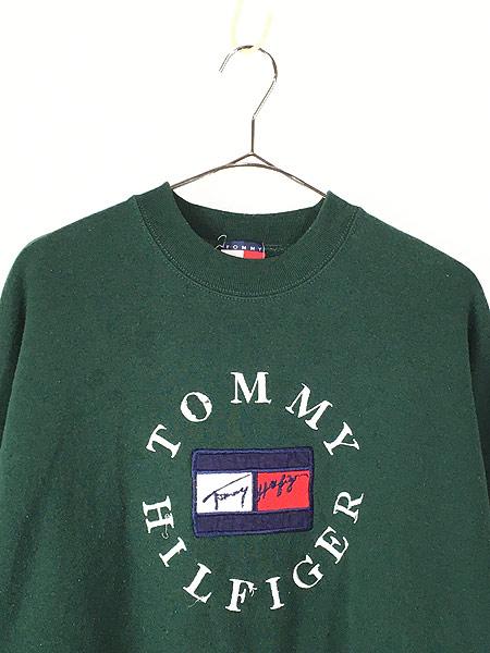 [2] 古着 90s TOMMY HILFIGER サークル ロゴ スウェット トレーナー XL 古着