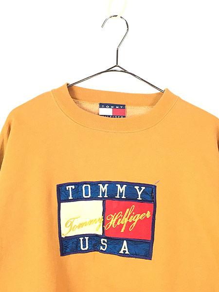 [2] 古着 90s TOMMY HILFIGER 「TOMMY USA」 刺しゅう スウェット トレーナー XL 古着