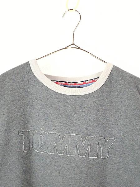 [2] 古着 TOMMY JEANS トミー ロゴ パッチ パイピング スウェット カットソー XL 古着