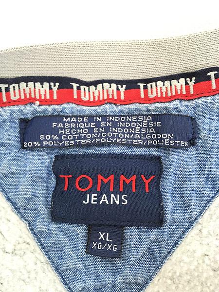 [5] 古着 TOMMY JEANS トミー ロゴ パッチ パイピング スウェット カットソー XL 古着