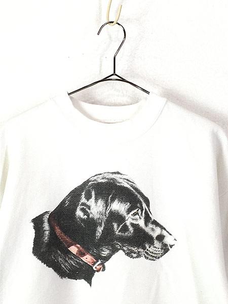 [2] 古着 90s USA製 イヌ 犬 ワンちゃん マルチ アニマル スウェット トレーナー L 古着