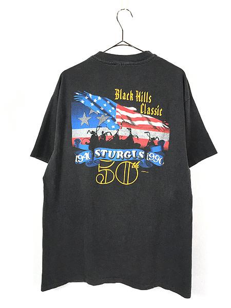[4] 古着 90s USA製 STURGIS スタージス イーグル バイカー Tシャツ 黒 XL 古着