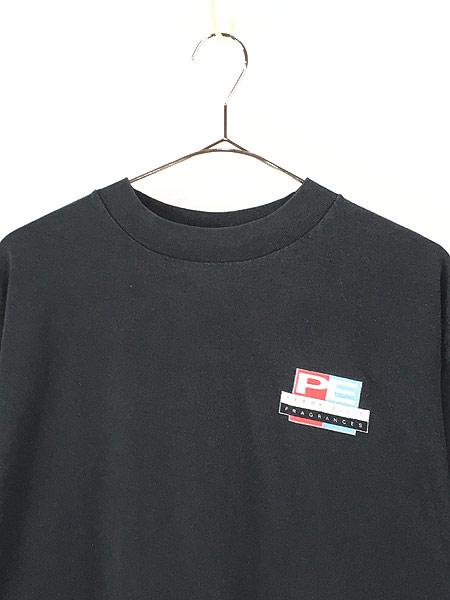 [2] 古着 90s USA製 PERRY ELLIS 「FRAGRANCES」 両面 Tシャツ 黒 XL 古着