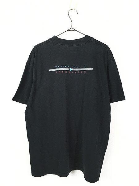 [3] 古着 90s USA製 PERRY ELLIS 「FRAGRANCES」 両面 Tシャツ 黒 XL 古着