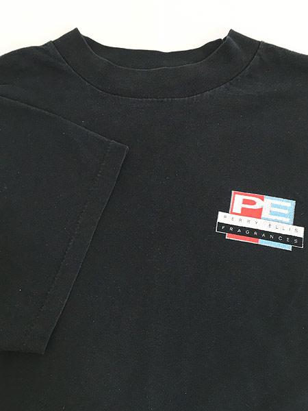 [4] 古着 90s USA製 PERRY ELLIS 「FRAGRANCES」 両面 Tシャツ 黒 XL 古着