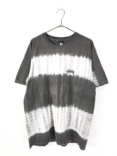 [1] 古着 Stussy ステューシー BIG ロゴ タイダイ ボーダー Tシャツ L 古着