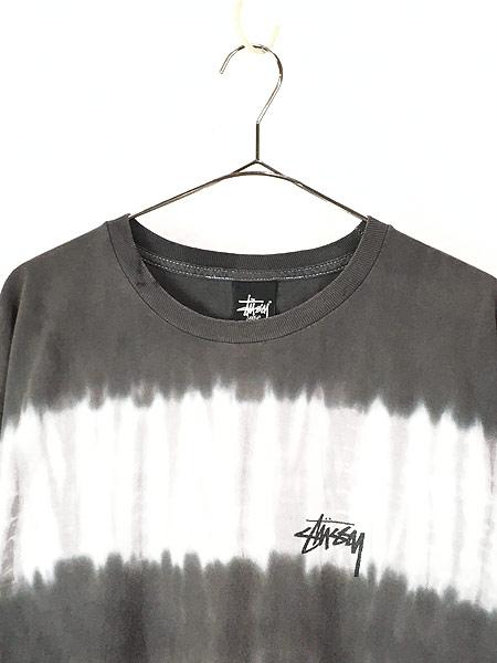 [2] 古着 Stussy ステューシー BIG ロゴ タイダイ ボーダー Tシャツ L 古着