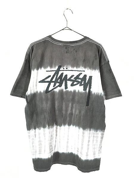[3] 古着 Stussy ステューシー BIG ロゴ タイダイ ボーダー Tシャツ L 古着