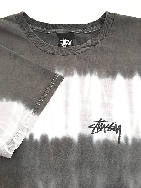 [5] 古着 Stussy ステューシー BIG ロゴ タイダイ ボーダー Tシャツ L 古着